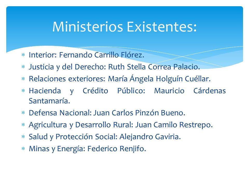 Ministerios Existentes:
