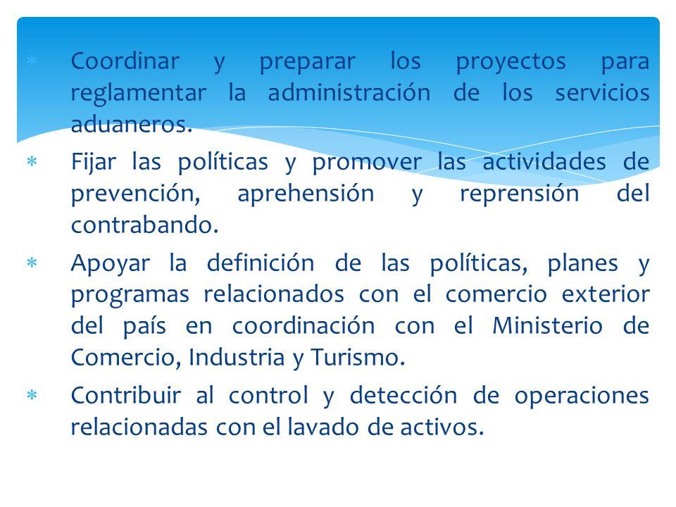 Coordinar y preparar los proyectos para reglamentar la administración de los servicios aduaneros.