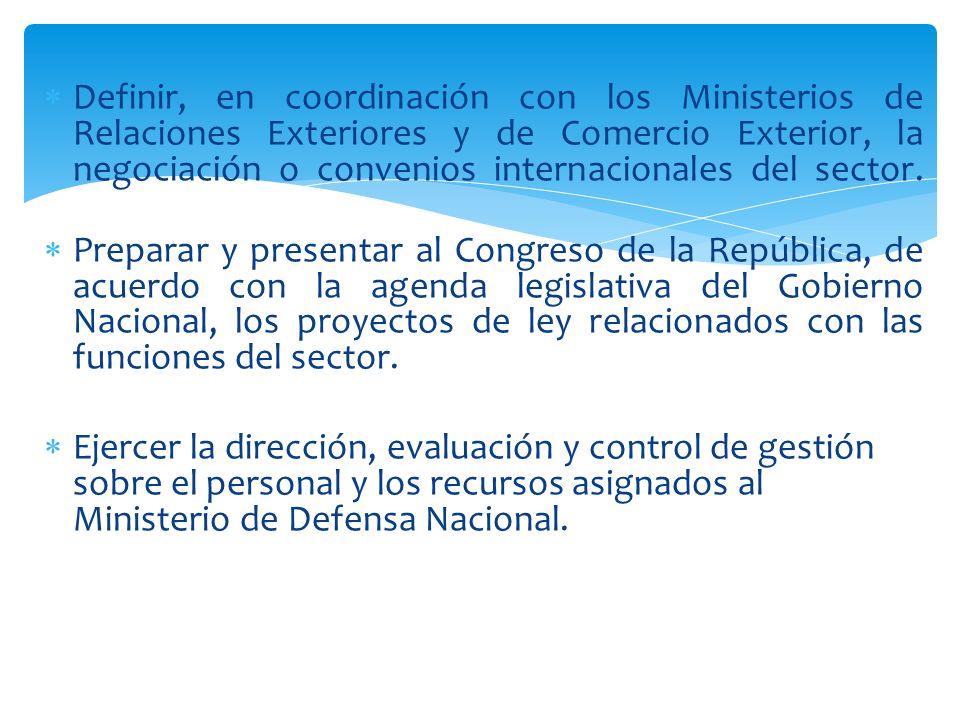 Definir, en coordinación con los Ministerios de Relaciones Exteriores y de Comercio Exterior, la negociación o convenios internacionales del sector.