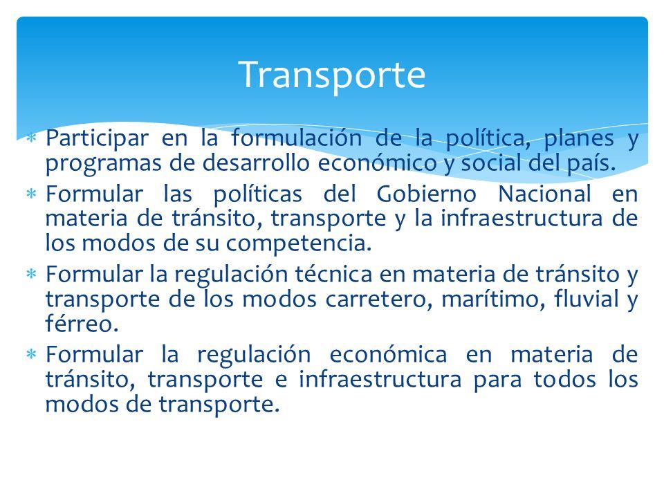 Transporte Participar en la formulación de la política, planes y programas de desarrollo económico y social del país.