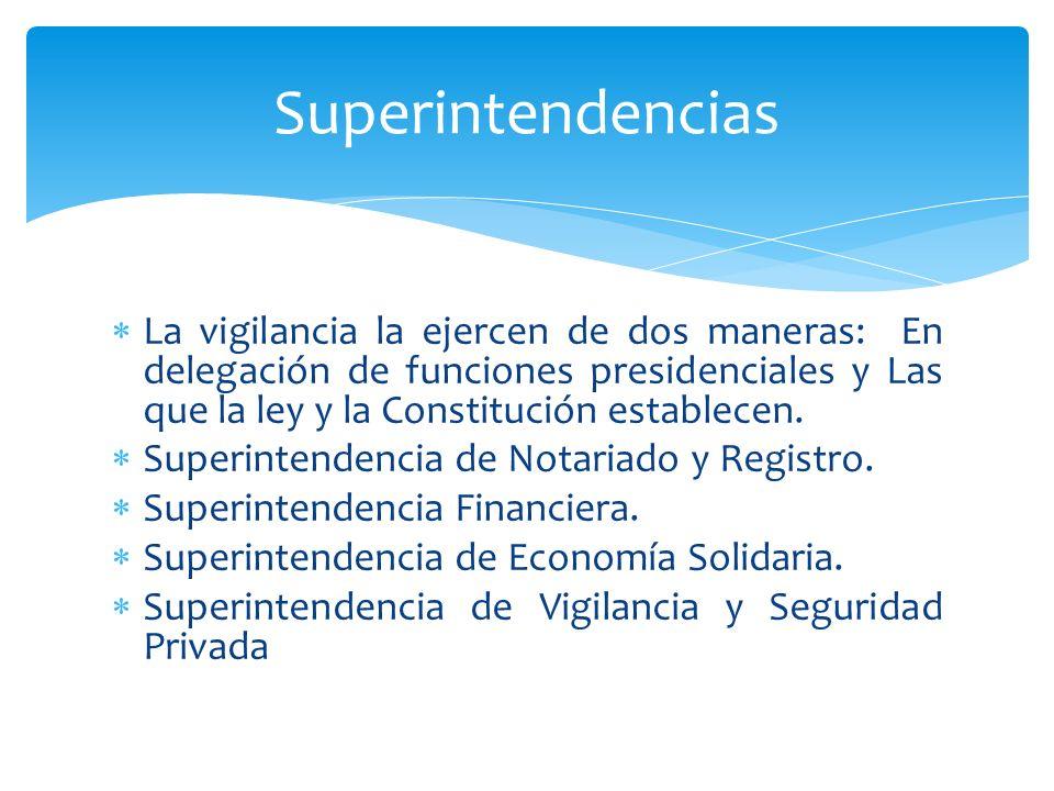 Superintendencias La vigilancia la ejercen de dos maneras: En delegación de funciones presidenciales y Las que la ley y la Constitución establecen.
