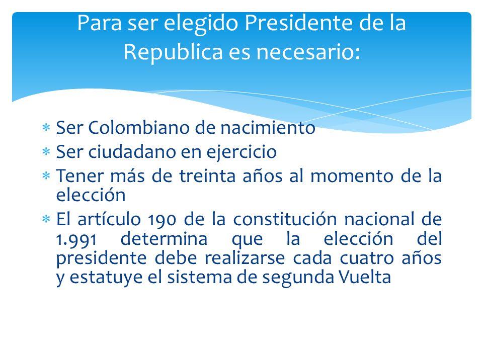 Para ser elegido Presidente de la Republica es necesario: