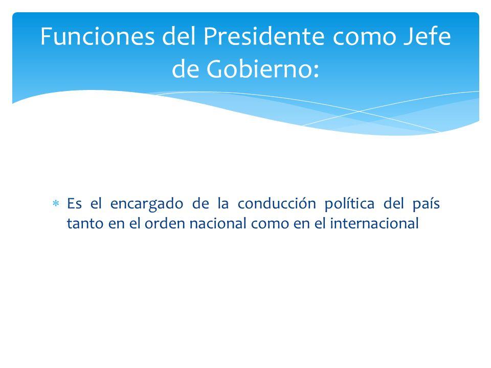 Funciones del Presidente como Jefe de Gobierno: