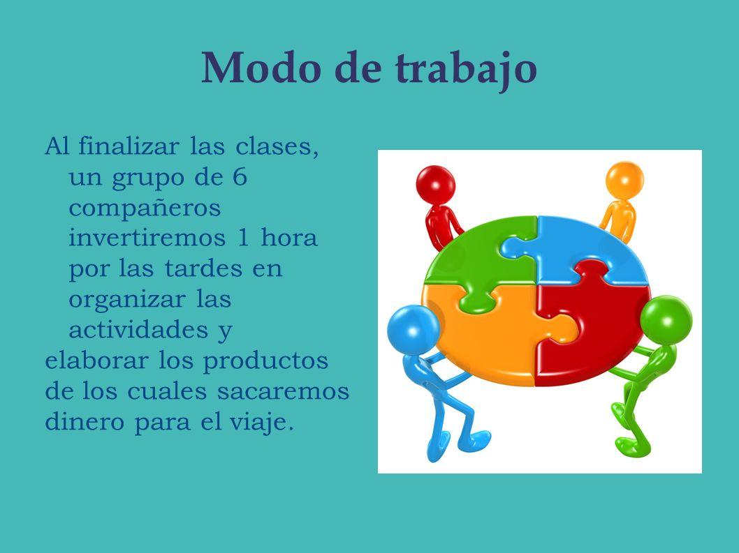 Modo de trabajoAl finalizar las clases, un grupo de 6 compañeros invertiremos 1 hora por las tardes en organizar las actividades y.