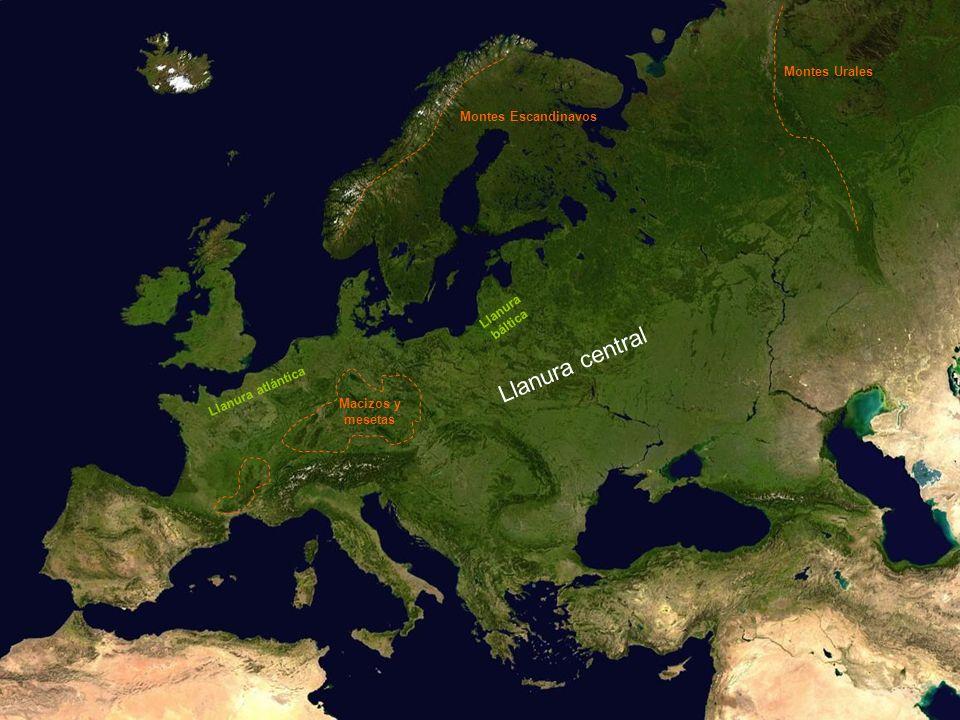 Llanura central Montes Urales Montes Escandinavos Llanura báltica