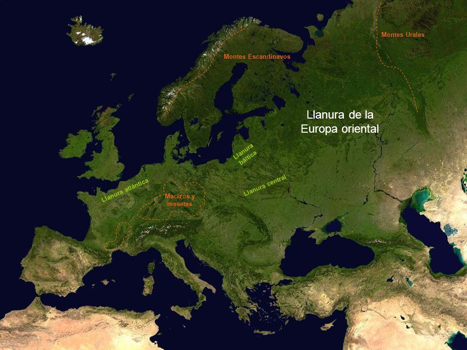 Llanura de la Europa oriental Montes Urales Montes Escandinavos