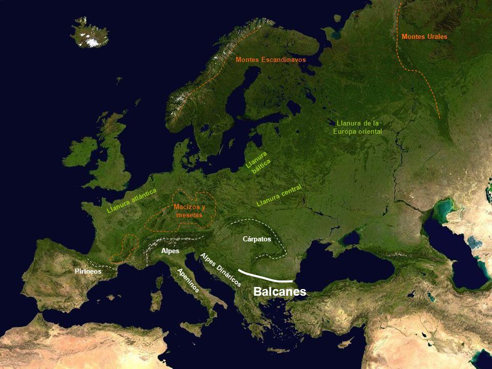 Balcanes Montes Urales Montes Urales Montes Escandinavos Llanura de la