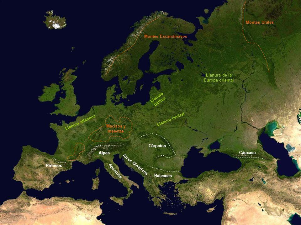 Montes Urales Montes Escandinavos. Llanura de la. Europa oriental. Llanura. báltica. Llanura atlántica.