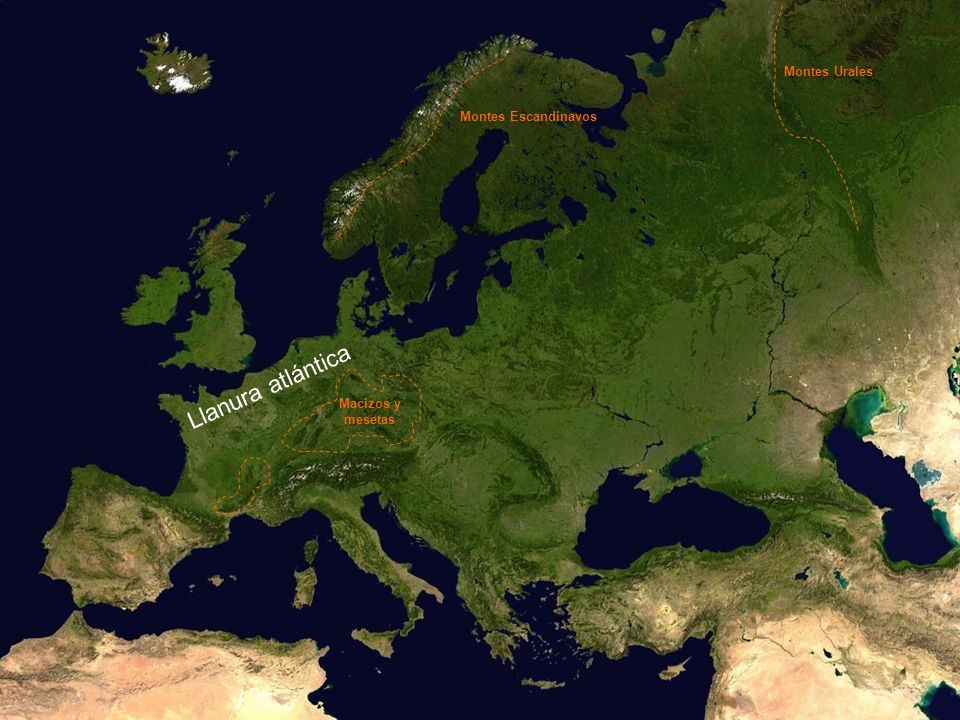 Montes Urales Montes Escandinavos Llanura atlántica Macizos y mesetas
