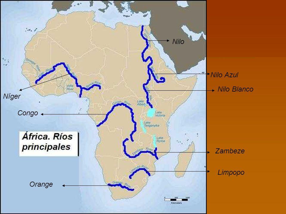 Nilo Nilo Azul Nilo Blanco Níger Congo Zambeze Limpopo Orange