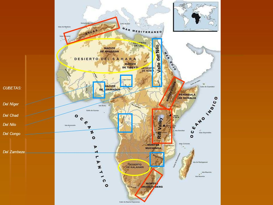 Valle del Nilo Rift Valley CUBETAS: Del Níger Del Chad Del Nilo
