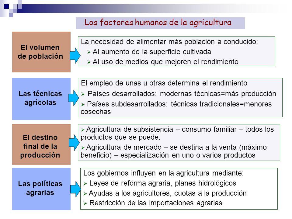 Los factores humanos de la agricultura