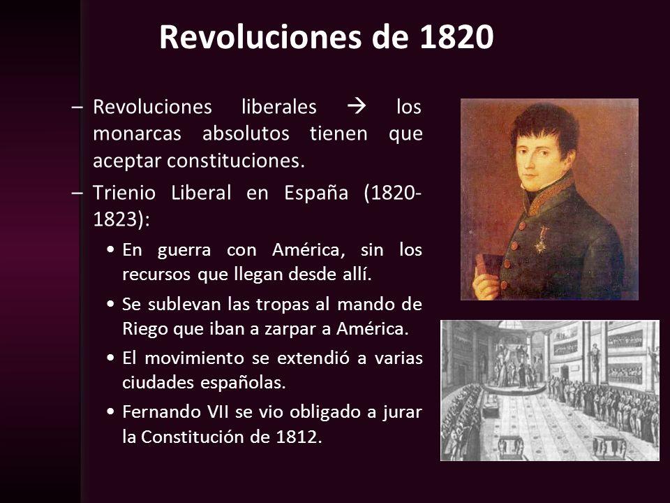 Revoluciones de 1820 Revoluciones liberales  los monarcas absolutos tienen que aceptar constituciones.