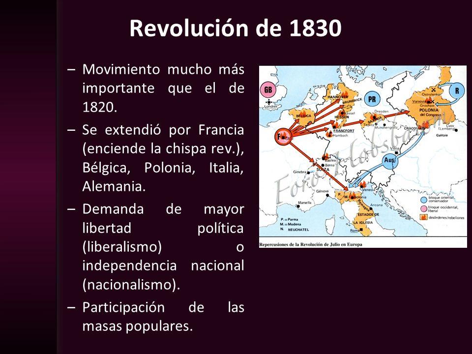 Revolución de 1830 Movimiento mucho más importante que el de 1820.