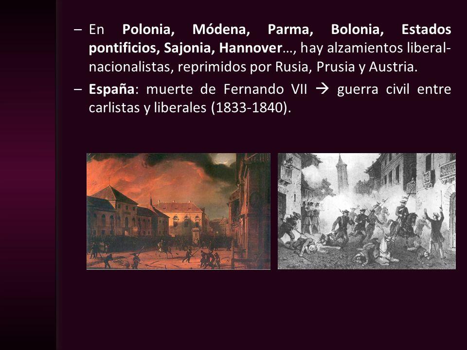 En Polonia, Módena, Parma, Bolonia, Estados pontificios, Sajonia, Hannover…, hay alzamientos liberal-nacionalistas, reprimidos por Rusia, Prusia y Austria.