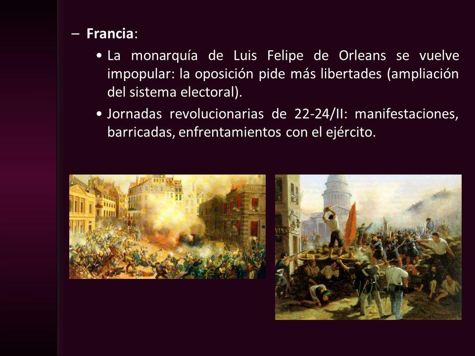Francia:La monarquía de Luis Felipe de Orleans se vuelve impopular: la oposición pide más libertades (ampliación del sistema electoral).