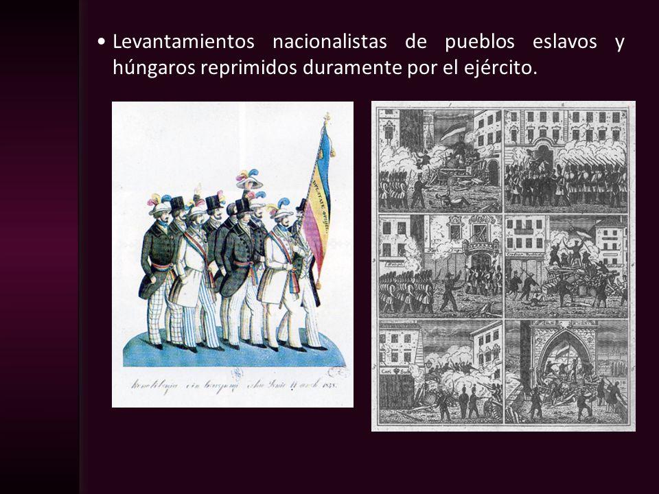 Levantamientos nacionalistas de pueblos eslavos y húngaros reprimidos duramente por el ejército.