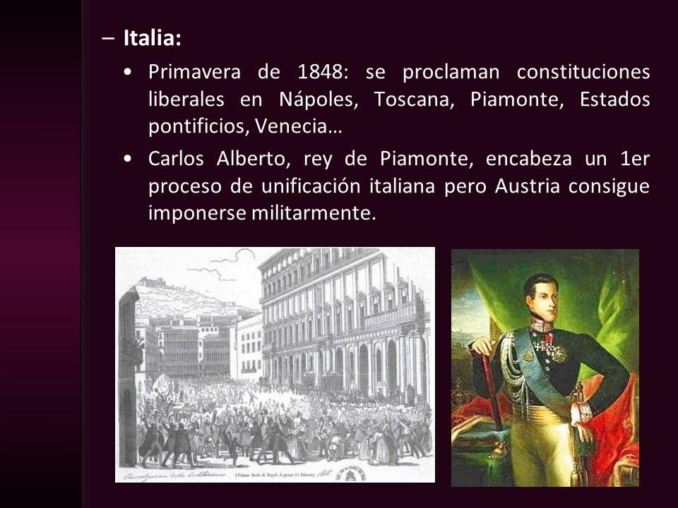 Italia: Primavera de 1848: se proclaman constituciones liberales en Nápoles, Toscana, Piamonte, Estados pontificios, Venecia…