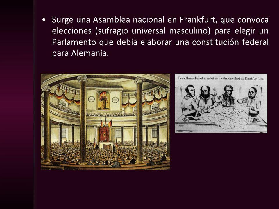 Surge una Asamblea nacional en Frankfurt, que convoca elecciones (sufragio universal masculino) para elegir un Parlamento que debía elaborar una constitución federal para Alemania.