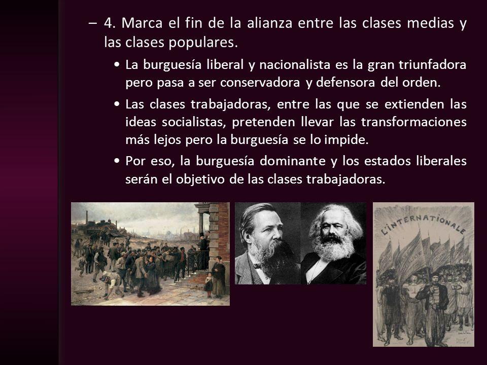 4. Marca el fin de la alianza entre las clases medias y las clases populares.