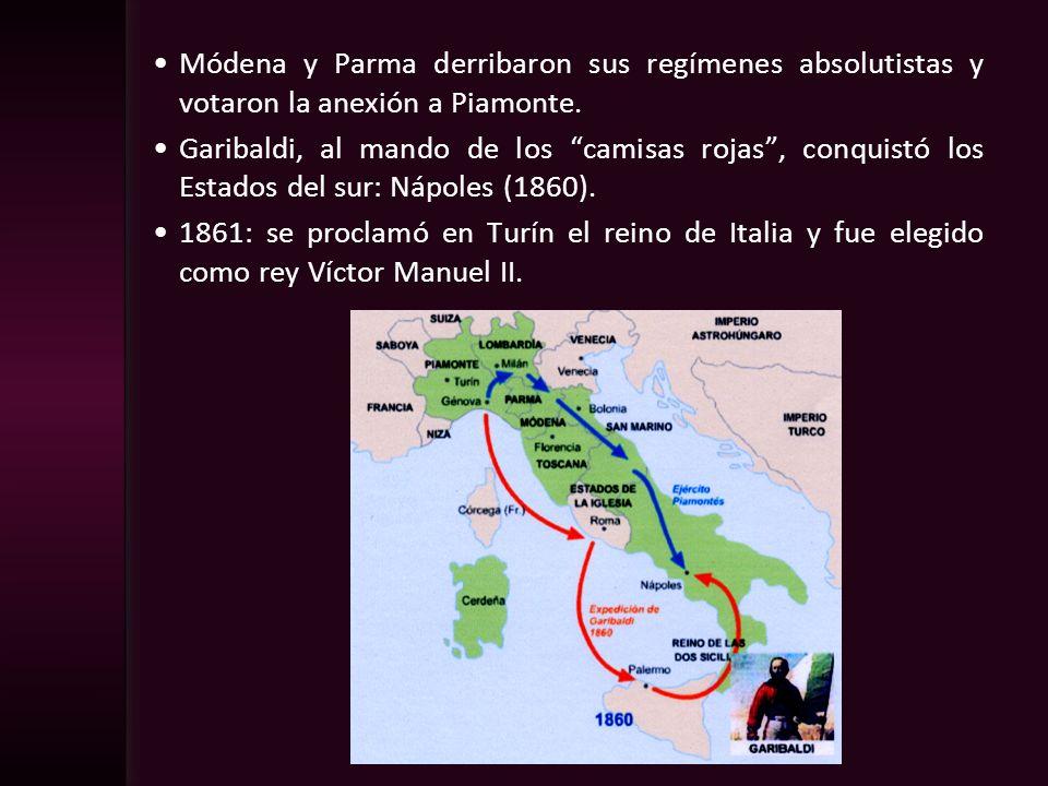 Módena y Parma derribaron sus regímenes absolutistas y votaron la anexión a Piamonte.