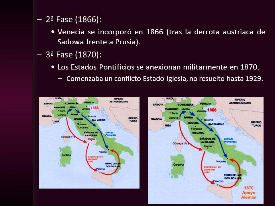 2ª Fase (1866):Venecia se incorporó en 1866 (tras la derrota austriaca de Sadowa frente a Prusia). 3ª Fase (1870):