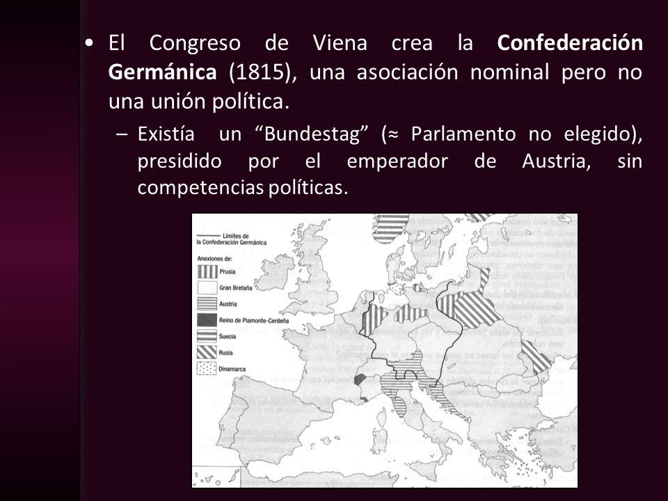 El Congreso de Viena crea la Confederación Germánica (1815), una asociación nominal pero no una unión política.