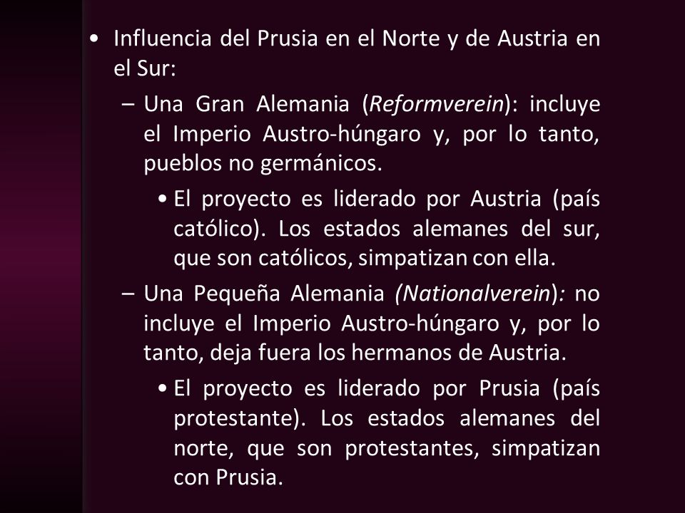Influencia del Prusia en el Norte y de Austria en el Sur:
