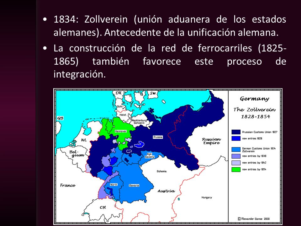1834: Zollverein (unión aduanera de los estados alemanes)