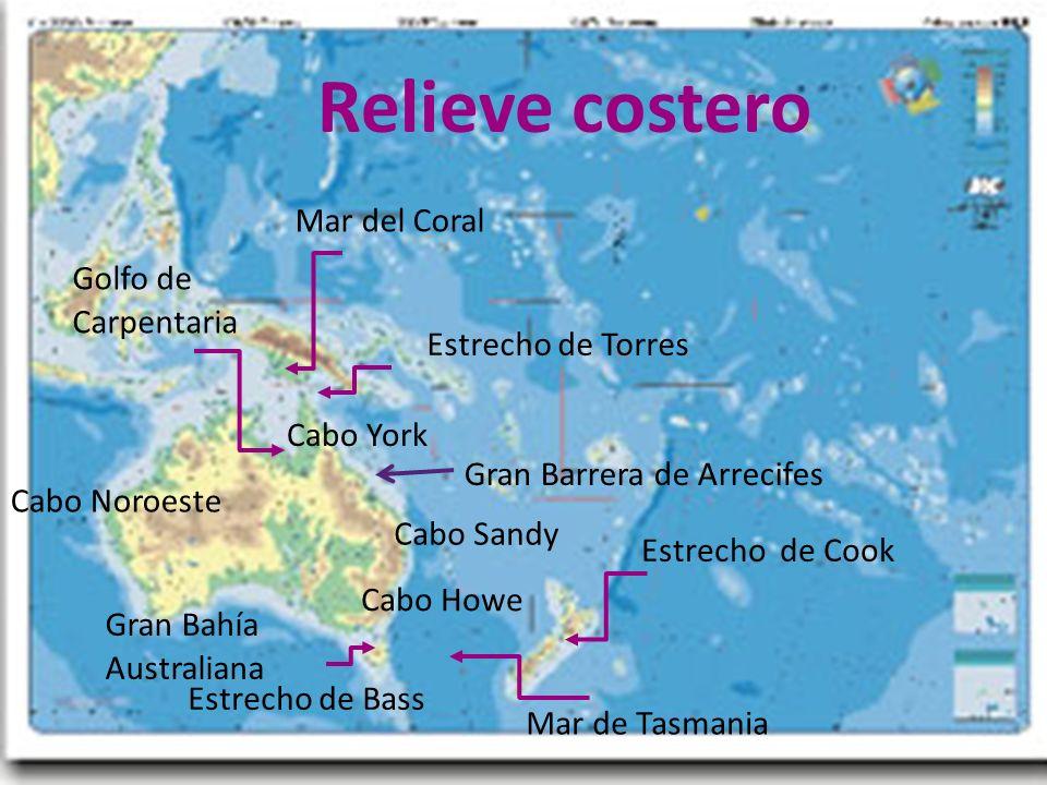 Relieve costero Mar del Coral Golfo de Carpentaria Estrecho de Torres