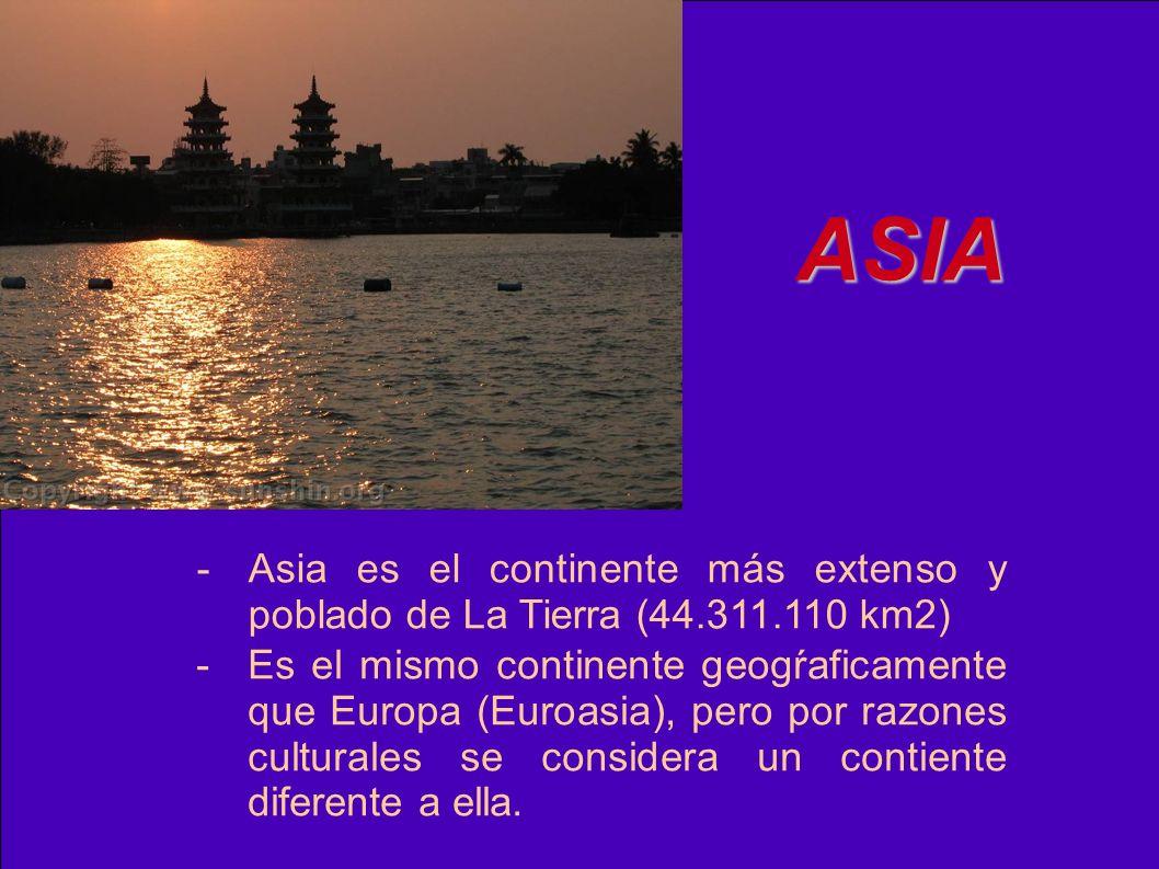 ASIA - Asia es el continente más extenso y poblado de La Tierra (44.311.110 km2)