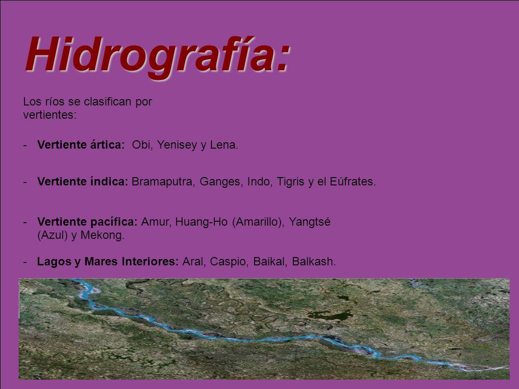 Hidrografía: Los ríos se clasifican por vertientes: