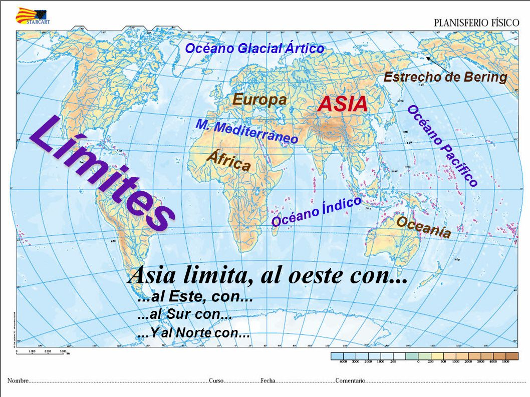 Límites Asia limita, al oeste con... ASIA Europa África