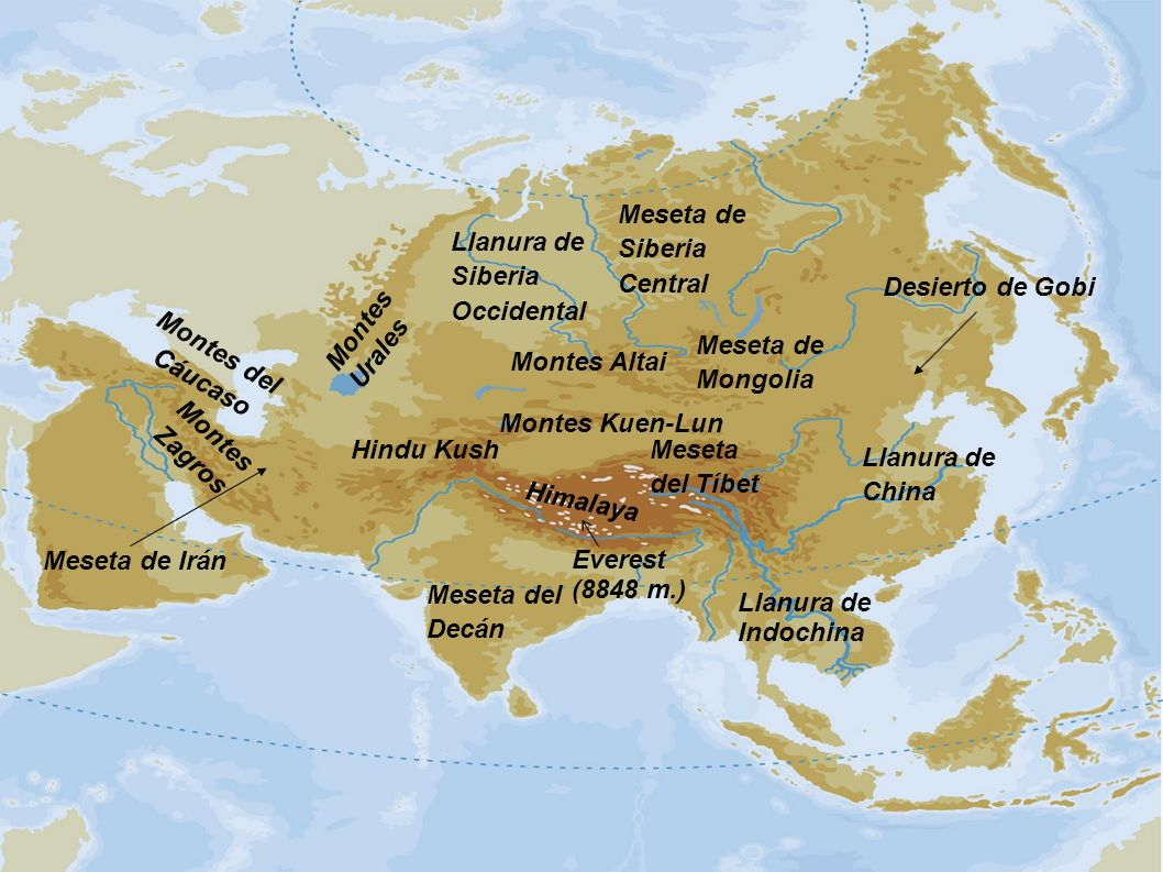 Meseta de Siberia Central. Llanura de Siberia. Occidental. Desierto de Gobi. Montes Urales. Montes del Cáucaso.