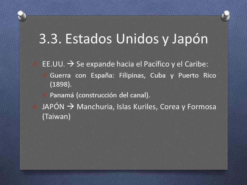 3.3. Estados Unidos y Japón EE.UU.  Se expande hacia el Pacífico y el Caribe: Guerra con España: Filipinas, Cuba y Puerto Rico (1898).