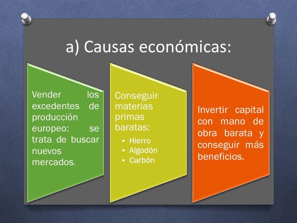 a) Causas económicas: Conseguir materias primas baratas: