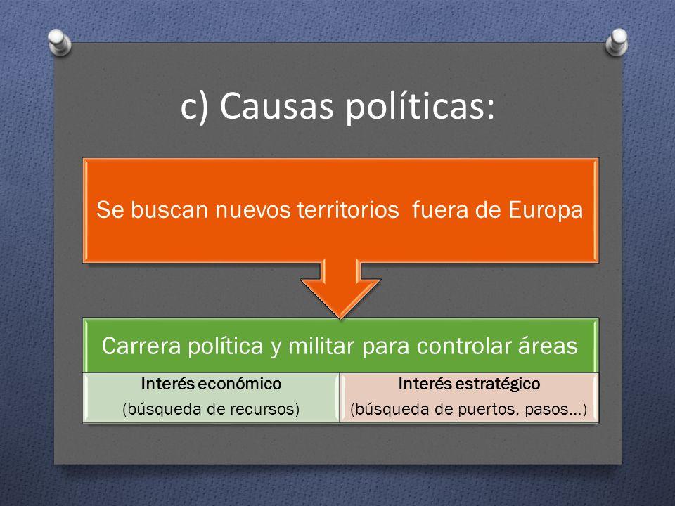 c) Causas políticas: Se buscan nuevos territorios fuera de Europa