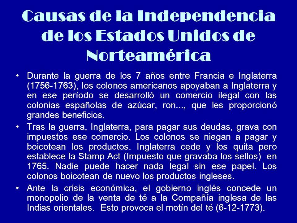 Causas de la Independencia de los Estados Unidos de Norteamérica