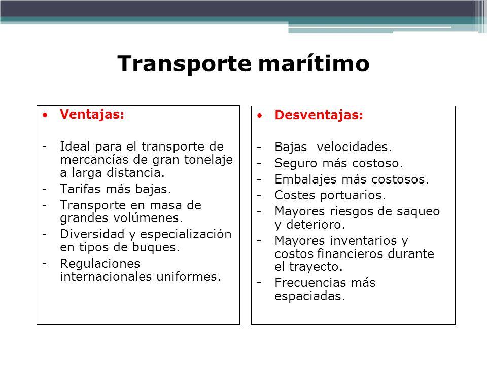 Transporte marítimo Ventajas: Desventajas: