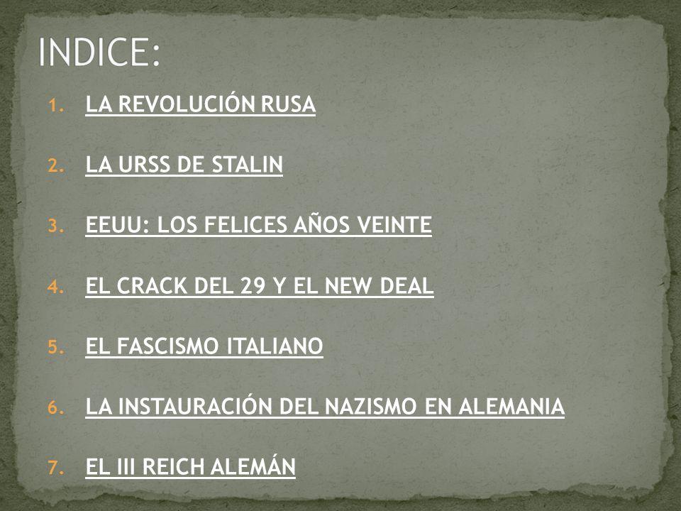 INDICE: LA REVOLUCIÓN RUSA LA URSS DE STALIN