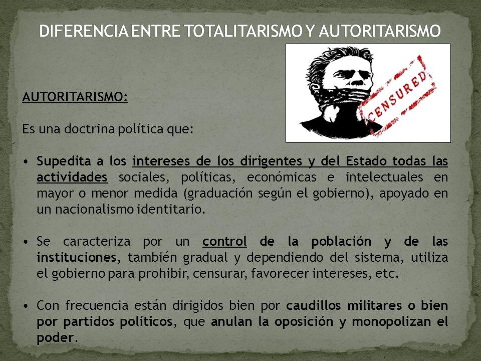 DIFERENCIA ENTRE TOTALITARISMO Y AUTORITARISMO