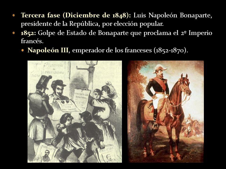 Tercera fase (Diciembre de 1848): Luis Napoleón Bonaparte, presidente de la República, por elección popular.
