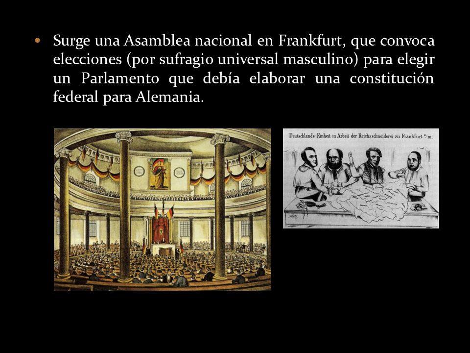 Surge una Asamblea nacional en Frankfurt, que convoca elecciones (por sufragio universal masculino) para elegir un Parlamento que debía elaborar una constitución federal para Alemania.
