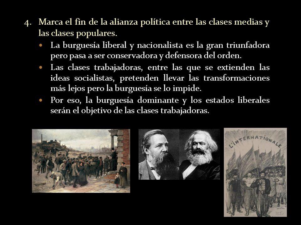 4. Marca el fin de la alianza política entre las clases medias y las clases populares.