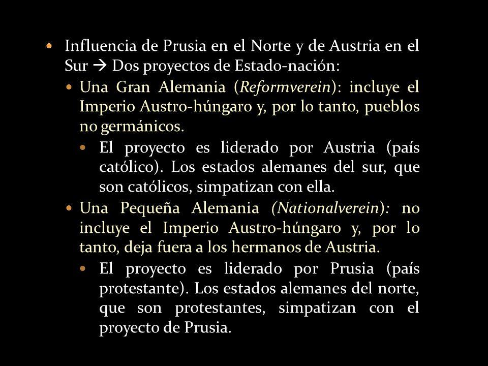 Influencia de Prusia en el Norte y de Austria en el Sur  Dos proyectos de Estado-nación:
