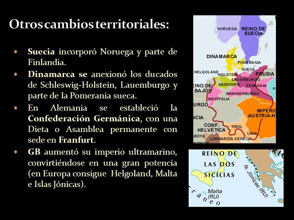 Otros cambios territoriales: