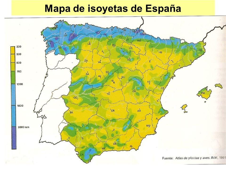 Mapa de isoyetas de España