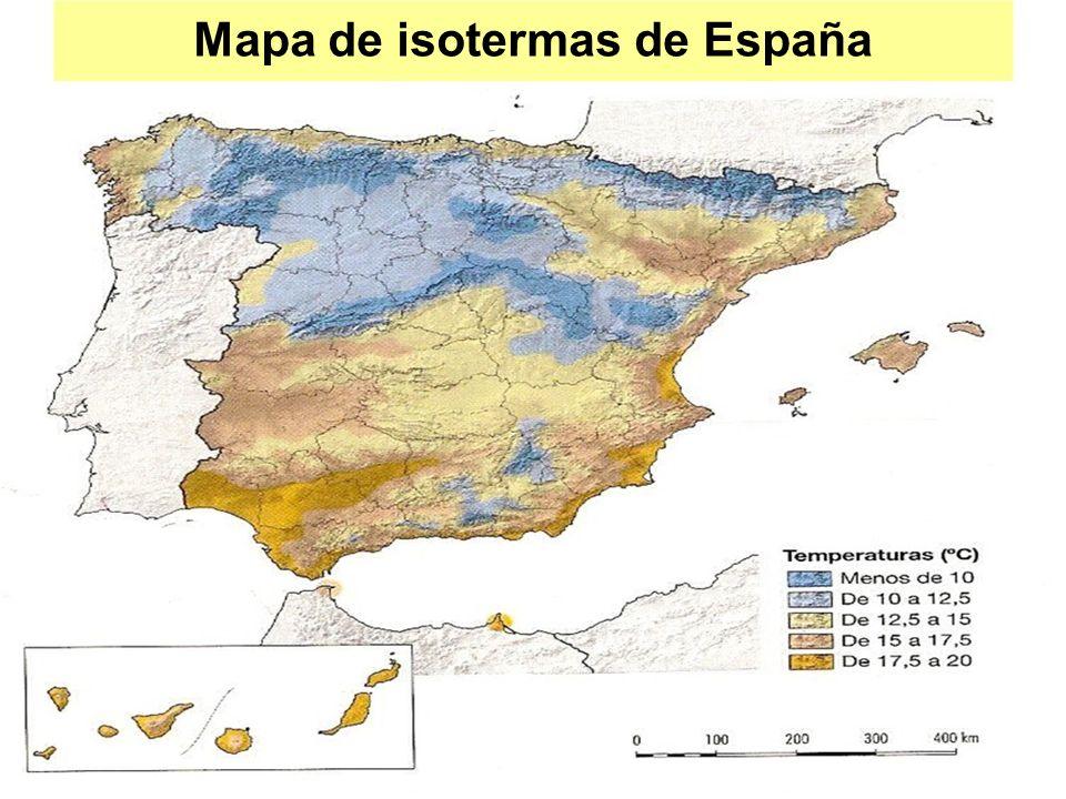 Mapa de isotermas de España