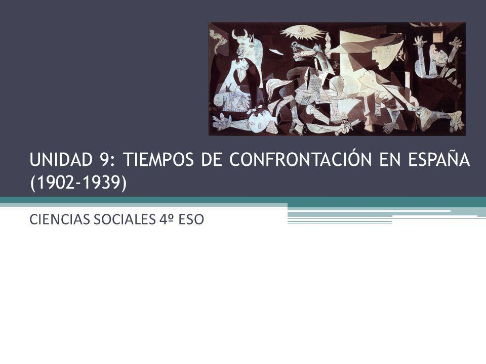 UNIDAD 9: TIEMPOS DE CONFRONTACIÓN EN ESPAÑA (1902-1939)