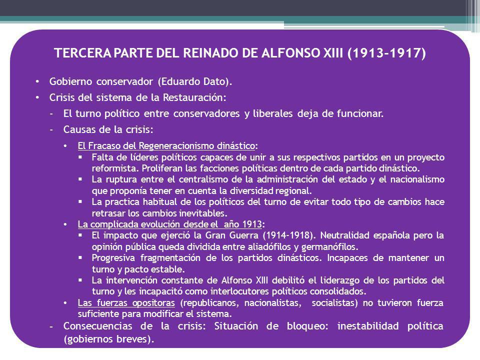 TERCERA PARTE DEL REINADO DE ALFONSO XIII (1913-1917)